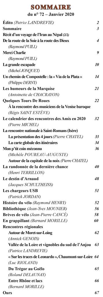 Le Randonneur - Sommaire du numéro 72 de janvier 2020
