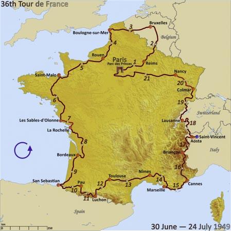 Carte tour de France 1949