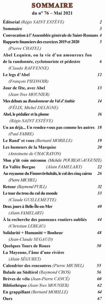 Le Randonneur - Sommaire du numéro 76 de mai 2021
